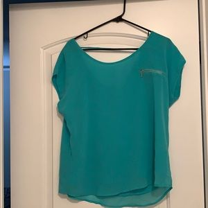 Turquoise Zippered Blouse